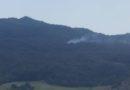 Maltempo del 24 luglio. Un incendio sulla montagna sopra la Fopla, nella zona di Specchio di Solignano.